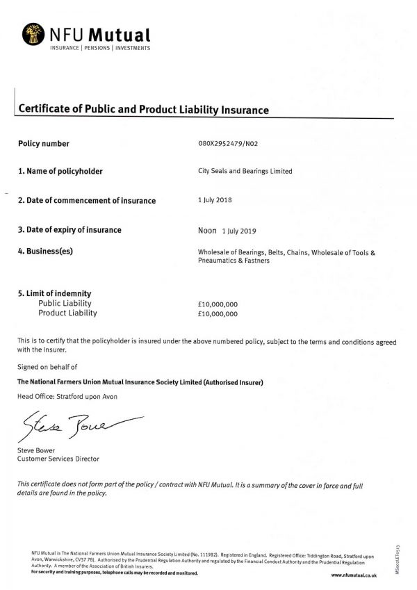City Seals Public Liability Insurance